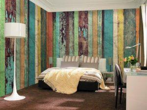 Wizard+Genius W+G vliesová fototapeta Barevná dřevěná stěna 366×254 cm