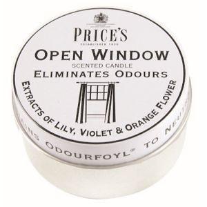Price´s FRESH AIR vonné svíčky v plechu Otevřené okno 123g 3ks