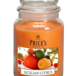 PRICE´S MAXI svíčka ve skle Sicilské citrusy, hoření 150h