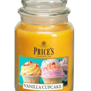 PRICE´S MAXI svíčka ve skle Vanilkový cupcake, hoření 150h