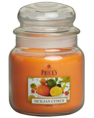 PRICE´S MIDI svíčka ve skle Sicilské citrusy, hoření 90h