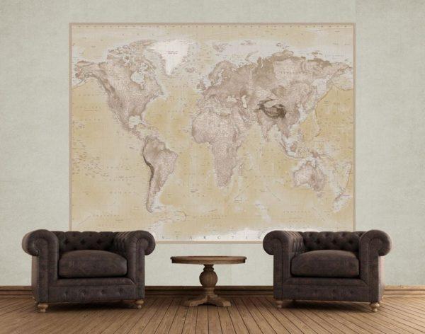 1Wall 1Wall fototapeta Geografická mapa světa 158x232 cm