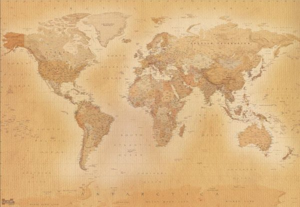 1Wall Vliesová fototapeta Retro mapa 366x253 cm