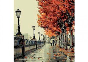DIY obraz s podzimní krajinou - malování podle čísel