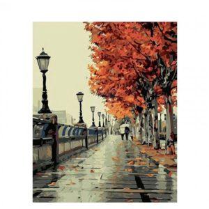 DIY obraz s podzimní krajinou – malování podle čísel