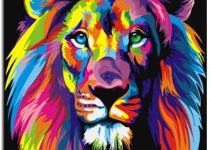 malování podle čísel - lev barevné provedení
