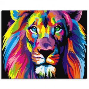 Malování podle čísel – lev barevné provedení