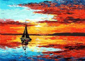 Fotografie:malování podle čísel - loď na moři