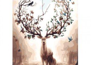 Fotografie:malování podle čísel jelen s ozdobným parožím