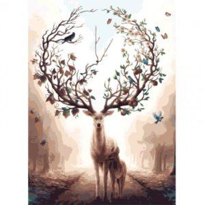 Malování podle čísel – jelen s ozdobným parožím