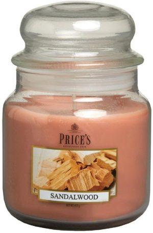 PRICE´S MIDI svíčka ve skle Santalové dřevo, hoření 90h