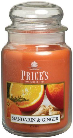 PRICE´S MAXI svíčka ve skle Mandarinka & Zázvor, hoření 150h