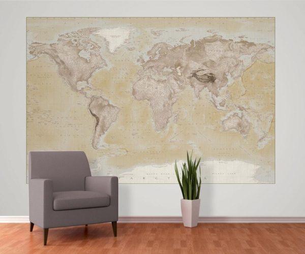 1Wall fototapeta Geografická mapa světa 158x232 cm