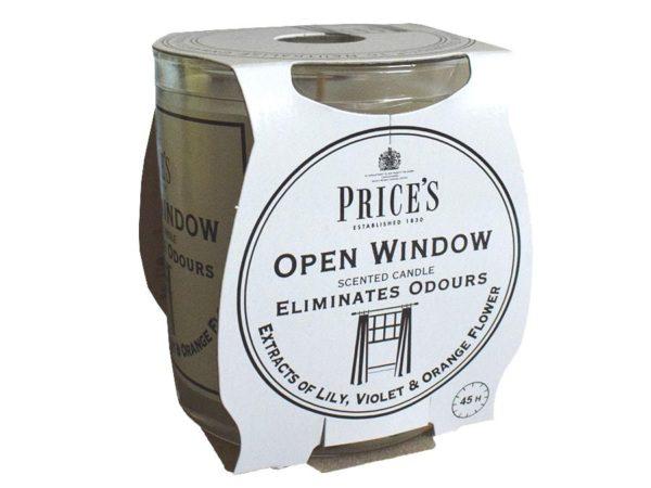 Price´s FRESH AIR vonná svíčka ve skle Otevřené okno 350g